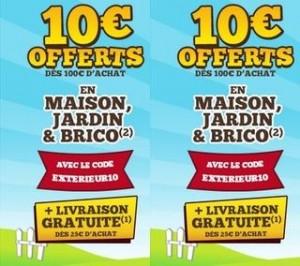code promo Cdiscount 10 euros Bricolage  Jardin Maison