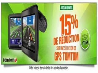 15% supplémentaires sur les GPS Tom Tom (à partir de 84 euros)