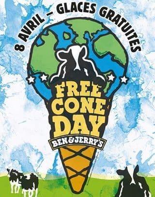 8 avril journée de la glace gratuite chez Ben & Jerry's