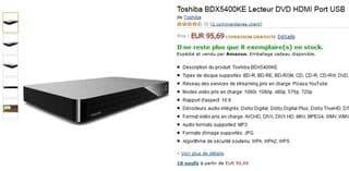 lecteur Blu-Ray 3D WiFi Toshiba