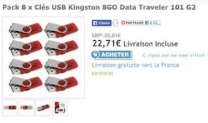 lot de 8 clés USB Kingston 8Go