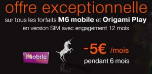 5 euros de remises sur les forfaits M6 Mobile et Orange Origami Play