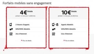 Forfaits mobiles SFR : 4 euros Red 2h +SMS et 10 euros Red 3Go (+2Go)