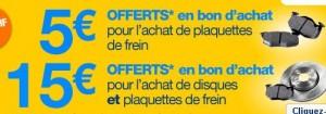 Norauto : Plaquettes de frein achetés = 5 euros en bon d'achat / plaquette + disque = 15 euros ! Livraison gratuite