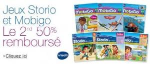 1 jeu Storio ou MobiGo acheté = le second 50% remboursé
