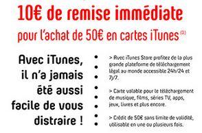 10 euros de remise immédiate sur les cartes iTunes de 50 euros