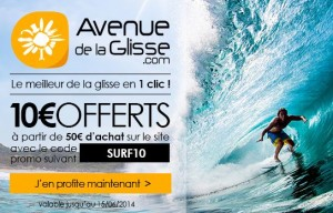 10 euros offerts pour 50 euros d'achat chez Avenue de la glisse