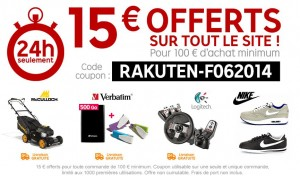 1000 code promo 15 euros offerts pour 100 euros d'achats sur Priceminister