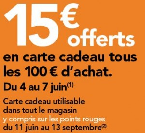 BHV Marais Rivoli 15 euros tous les 100 euros en carte cadeau