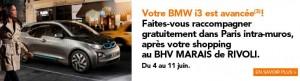 BHV Marais Rivoli raccompagnement gratuit en BMW I3