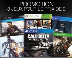 Bon plan jeu vidéo : 2 achetés = 1 gratuit (PS4, PS3, Xbox One, Xbox 360, Wii U et Wii)