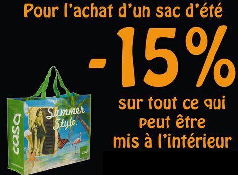 CASA : demain tout le contenu de votre sac à moins 15%