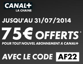 Code promo Canal + : 75 euros offerts