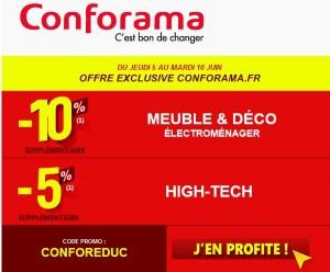 Conforama : 10% supplémentaire sur Meuble et Déco et 5% supplémentaire sur le High-Tech