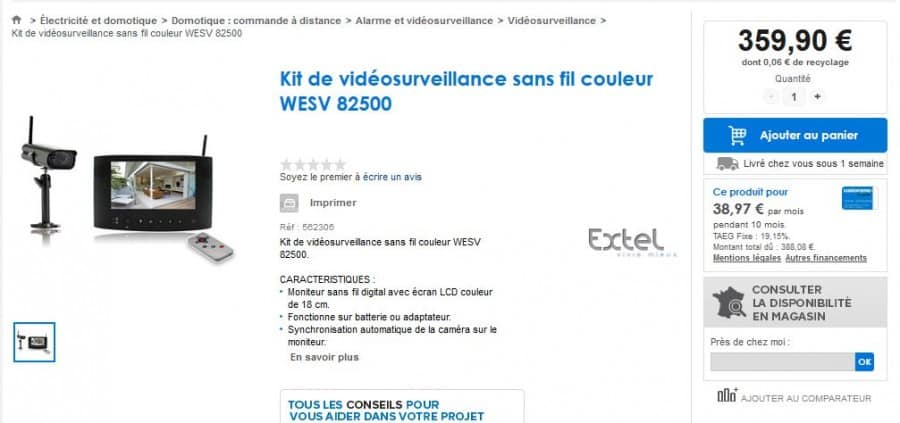 Kit de vidéosurveillance sans fil couleur WESV 82500