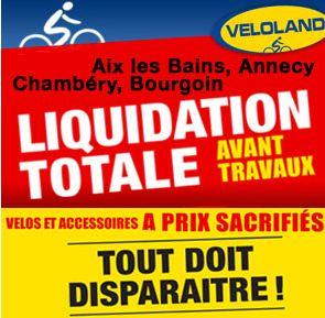 Liquidation magasins Veloland