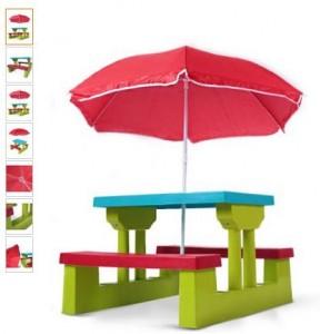 Moins de 40 euros l'ensemble de jardin pour enfant table 2 bancs + parasol port inclus