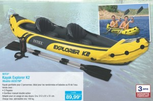 Moins de 90 euros le Kayak gonflable Intex Explorer K2