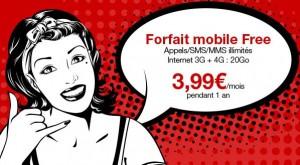 Vente privée Free Mobile ! Moins de 4 euros Appels + SMS + MMS illimités et Internet 3G + 4G de 20Go