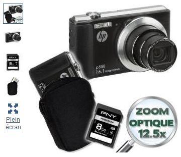 appareil photo HP (16 Mpix) + Etui + Carte SD 8 Go a moins de 80 euros