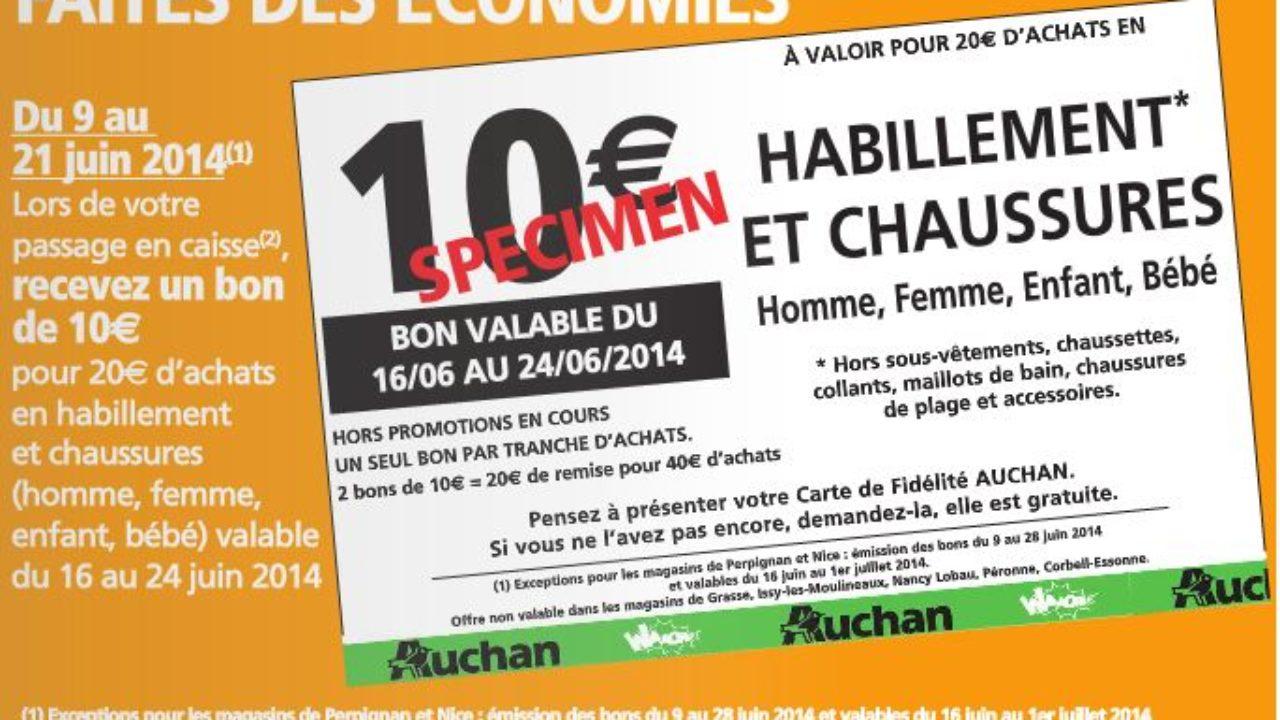 717698c8249 Hyper Auchan   20 euros d achats Vêtements   Chaussures   1 Bon de  réduction de 10 euros