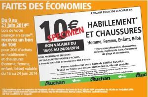 bon d'achat Auchan de 10 euros