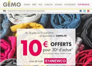 10 euros offerts à partir de 30 euros d'achats sur Gémo