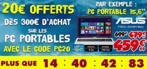 Bon plan Pc Portable : 20 euros de remises immédiates dès 300 euros chez Cdiscount