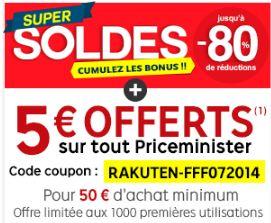 5 euros de remises immédiates sur Priceminister