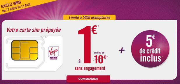 Carte Sim Virgin Mobile prépayée à 1 euro