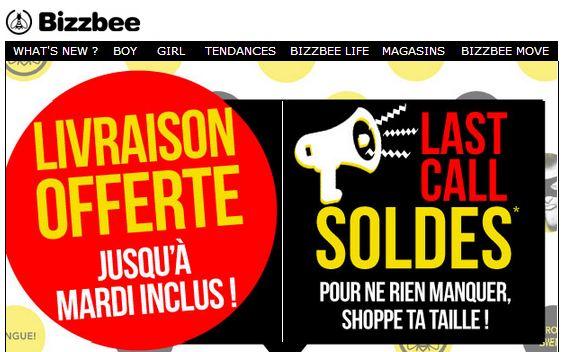 Derniers jours des Soldes Bizzbee : livraison gratuite