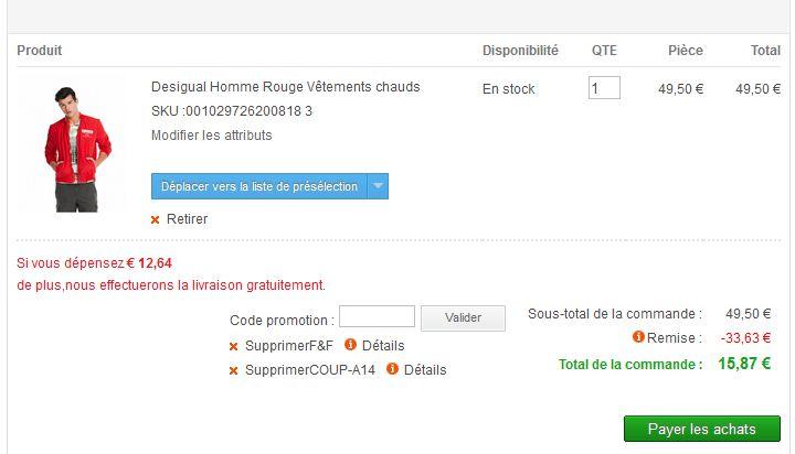 Moins de 16 euros la veste homme Desigual  au lieu de 99 euros