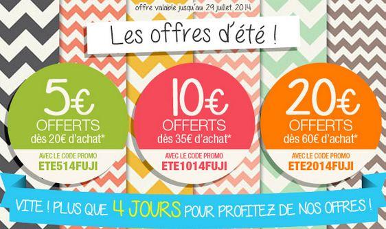 MyFuji : 5 euros offerts pour 20 euros d'achats (10 pour 35 ou 20 sur 60) sur tout le site (tirage, livre photo, cadeau photo…)