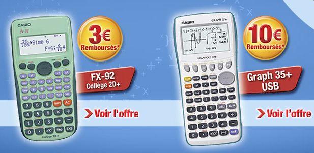 Remboursement calculatrices Casio 2014
