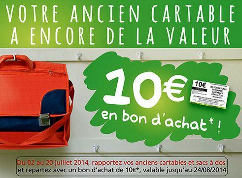 Reprise de votre ancien cartable 10 euros chez Auchan