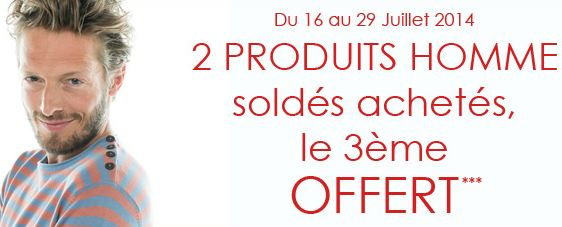 Soldes Promod : 2 achetés = 1 gratuit sur le rayon homme