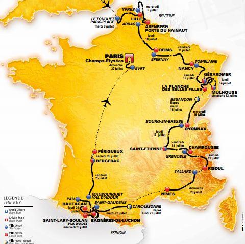 Télécharger la carte et calendrier du Tour De France 2014