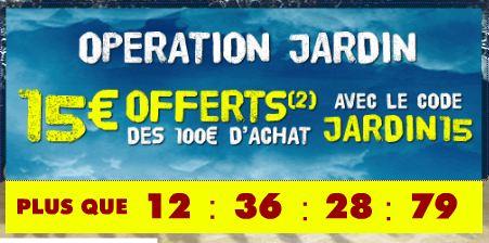code promo 15 euros offerts jardinage