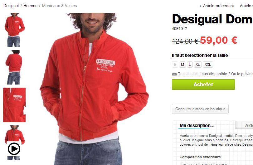 veste rouge Desigual Dom