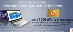 200 euros offerts en carte cadeau Boulanger pour l'achat d'un portable
