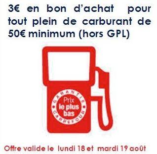 Bon plan Essence 3 euros offerts dans les stations des hypers Carrefour