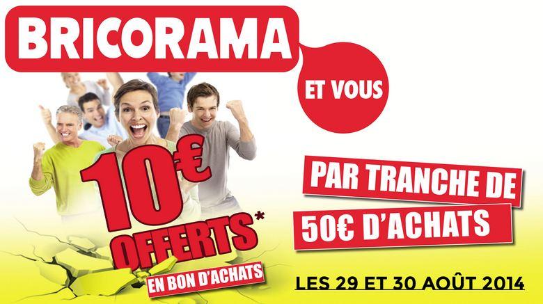 Bricorama : 10 euros tous les 50 euros ou