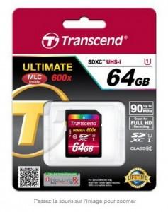 Carte SDXC 64 Go x600 Transcend à moins 35 euros