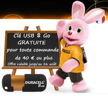Cle USB Duracell gratuite Duracell Direct