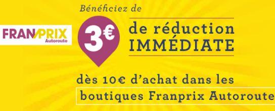 Coupon 3 euros de remises Franprix Autoroute