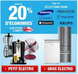 Electroménager (petit ou gros) acheté = 20% crédités sur votre compte Waaoh