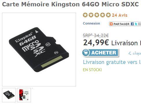 Moins de 25 euros la Micro SDXC Kingston 64Go