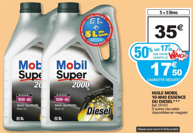 17,50 euros les 2 bidons d'huile Mobil 1 Super 2000 10W-40 de 5 litres