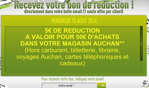 bon de réduction Auchan du 15 août 2014