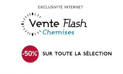 Plus de 300 chemises à moitié prix en vente flash Galeries Lafayette jusqu'à minuit.